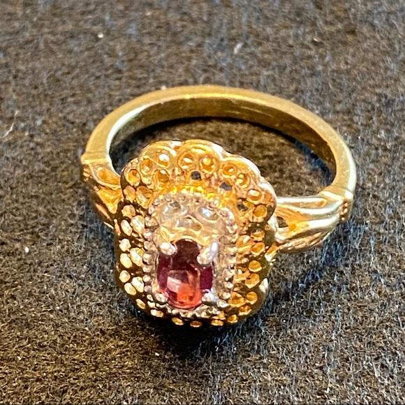 8K Gold Glass Garnet Ring